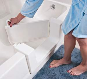 The Safeway Tub Door provides an economical renovation option for individuals and facilities interested in easier access into the bathtub area. It can be installed in most types of bathtubs, including fiberglass, steel and cast iron.