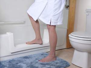 The Safeway Step can be used to retrofit your bathtub into a walk-in shower.