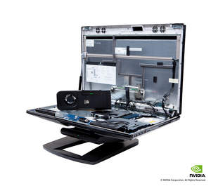 NVIDIA All-In-One discrete GPU sitting on internal components tray of the HP Z1