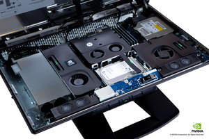 HP Z1-overhead view (w/hood open) of internal components tray (close-up)