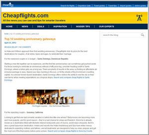 Cheapflights.com Top 10 Wedding Anniversary Getaways