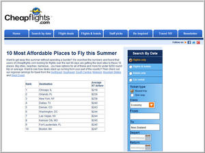 Cheapflights.com's Top 10 Most Affordable Places to Fly this Summer