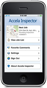 Accela Mobile Inspector home screen shown on iPhone with options menu of job list, comments, more.