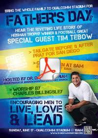 Tim Tebow, Shadow Mountain, Father's Day, Dr. David Jeremiah, Qualcomm Stadium