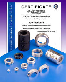 Stafford Manufacturing Corp. has received ISO 9001:2008 certification