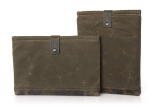WaterField Outback Laptop Sleeve - horizontal & vertical orientations, both with 'Grizzly' trim