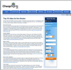 Screen shot,Cheapflights.ca's Top 10 Cities for Live Theatre,top travel destinations,Tony Awards