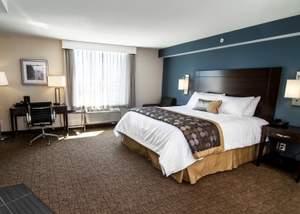 A guest room at Wyndham Garden Fallsview Niagara Falls.