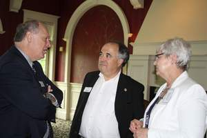 TruStone Financial's Chairman of the Board, Stephen Bohlig, discusses education reform with Representative Erickson and TruStone Board Member Samuel Stern.