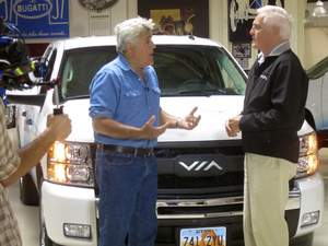 Jay Leno,Bob Lutz,VIA Motors,electric truck,hubrid,vtrux,Leno's Garage,erev,volt