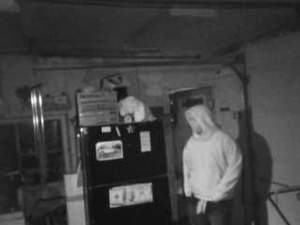 SafeMart home security image sensor catches a burglar in the act.