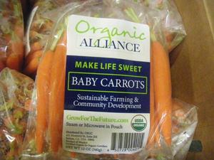Organic Alliance branded retail package of its organic baby carrots.