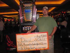 David from Placerville, Calif., won $50,642 on Double 7s slot at Red Hawk Casino.