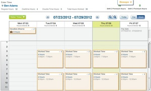 Workday Time Tracking calendar interface