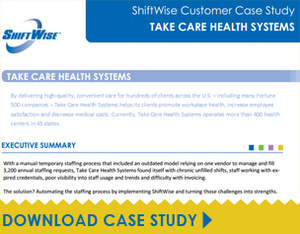 Download ShiftWise case study of Take Care Health Systems