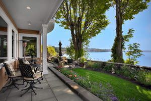 The Puget Sound Waterfront Estate, a five-bedroom home with four bathrooms and 2 half-baths, overlooks the Puget Sound in Des Moines