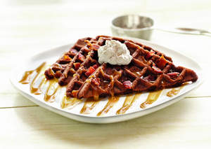 Chocolate Waffles with Caramel Syrup and Bacon