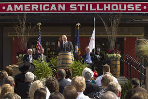 Seventh Generation Jim Beam Master Distiller Frederick 'Fred' Booker Noe III, center, joins Kentucky Governor Steven Beshear, left, Beam President & CEO Matt Shattock and Beam Chairman of the Board David Mackay to celebrate the grand opening of the Jim Beam(R) American Stillhouse visitors' center in Clermont, Ky., on October 3, 2012. The opening of the Jim Beam American Stillhouse as well as a new Global Innovation Center reflects a $30 million investment by Beam Inc. The event was hosted one year to the day after Beam became a publicly traded standalone spirits company.