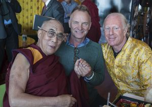 Dalai Lama, Sting and Bobby Sager at benefit event