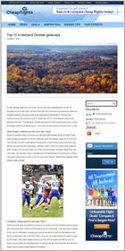Cheapflights.com Top 10 In-Demand October Getaways