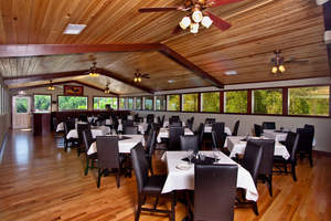 The golf course includes a clubhouse with a conference center, bar and full restaurant, along with a pro shop, swimming pool with snack bar and a fitness center, all with views of the Smoky Mountains
