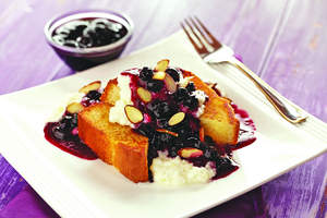 Grilled Pound Cake with Warm Blueberry Sauce and Ricotta Cream