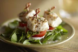 Halibut Caprese Salad Bites