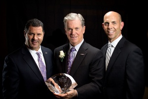 Caption: (l to r) Ron Rabena, Division President, AlliedBarton; Bill Whitmore, President & CEO, AlliedBarton; and Kevin Boyle, Business Department Chair at the Philadelphia law firm of Stradley Ronon, sponsor of  the Visionary Award. Past Visionary Award winners include QVC, Campbell Soup, Urban Outfitters, Wawa, and The Vanguard Group, Inc.