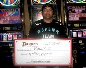 Randy S. of San Diego won a $438,894 jackpot on Sunday, November 25 while playing the Wheel of Fortune progressive at Barona Resort & Casino.
