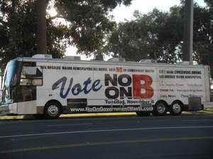 No on Measure B campaign bus makes stops throughout LA County in the final days of campaigning.