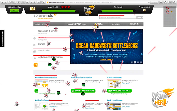 SolarWinds Web-based game for IT Pros