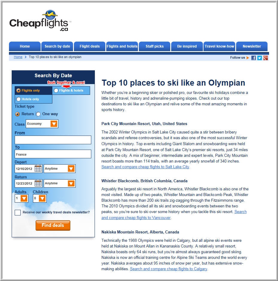 Cheapflights.ca Top 10 Places to Ski Like an Olympian