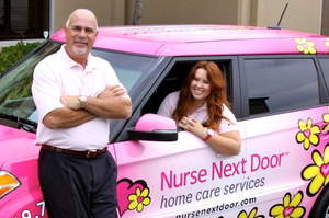 Nurse Next Door Home Care Franchise Owners Tony Uzzi and his stepdaughter Paige Palmer.