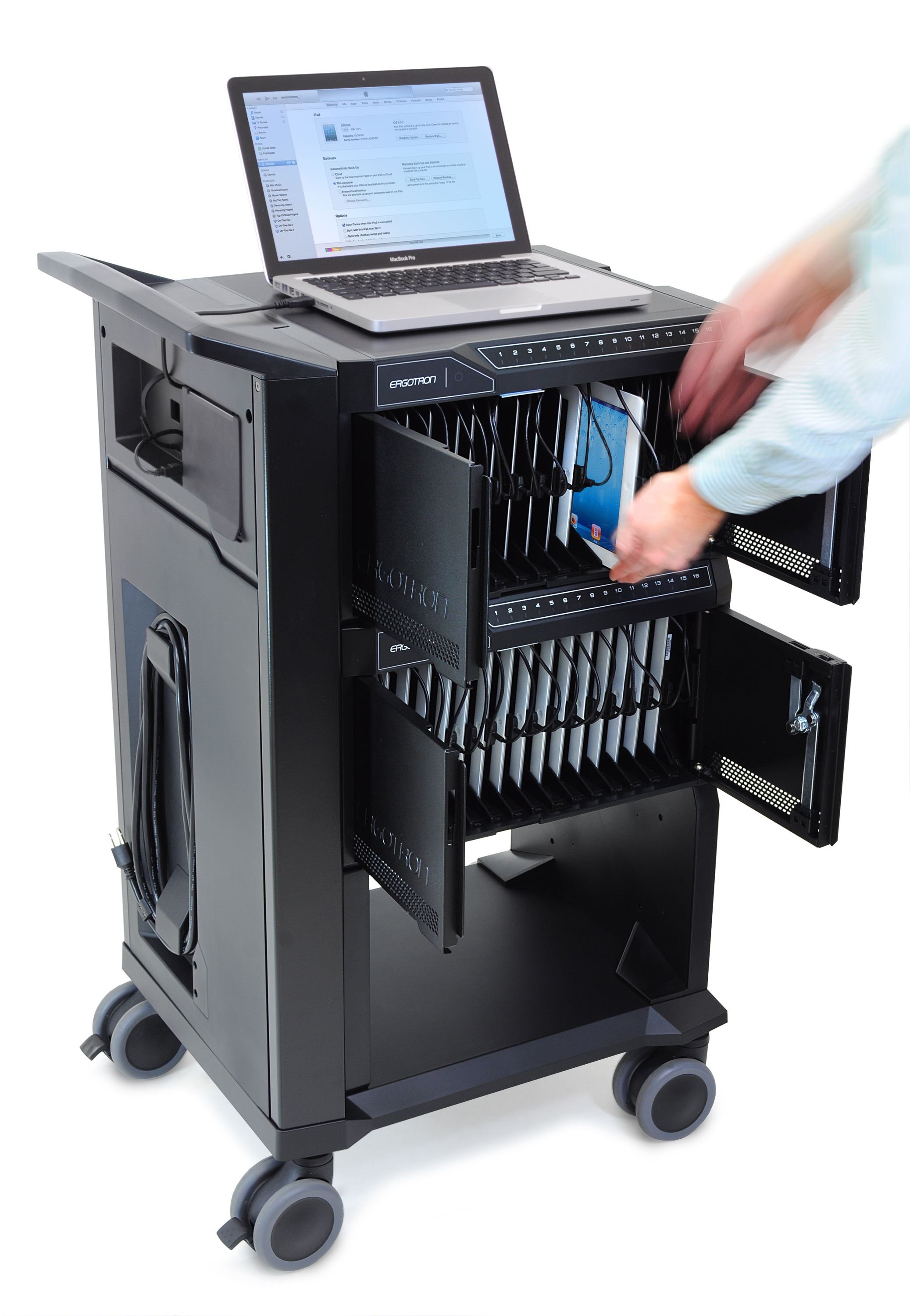 Sync, charge, secure and manage up to 48 tablets with Ergotron's Tablet Management Cart