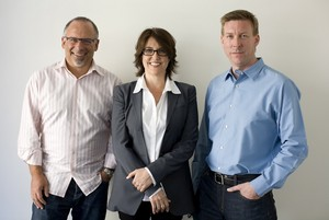 Score Revolution founders (starting at left) Seth Kaplan, Christine Russell and Ian Hierons.