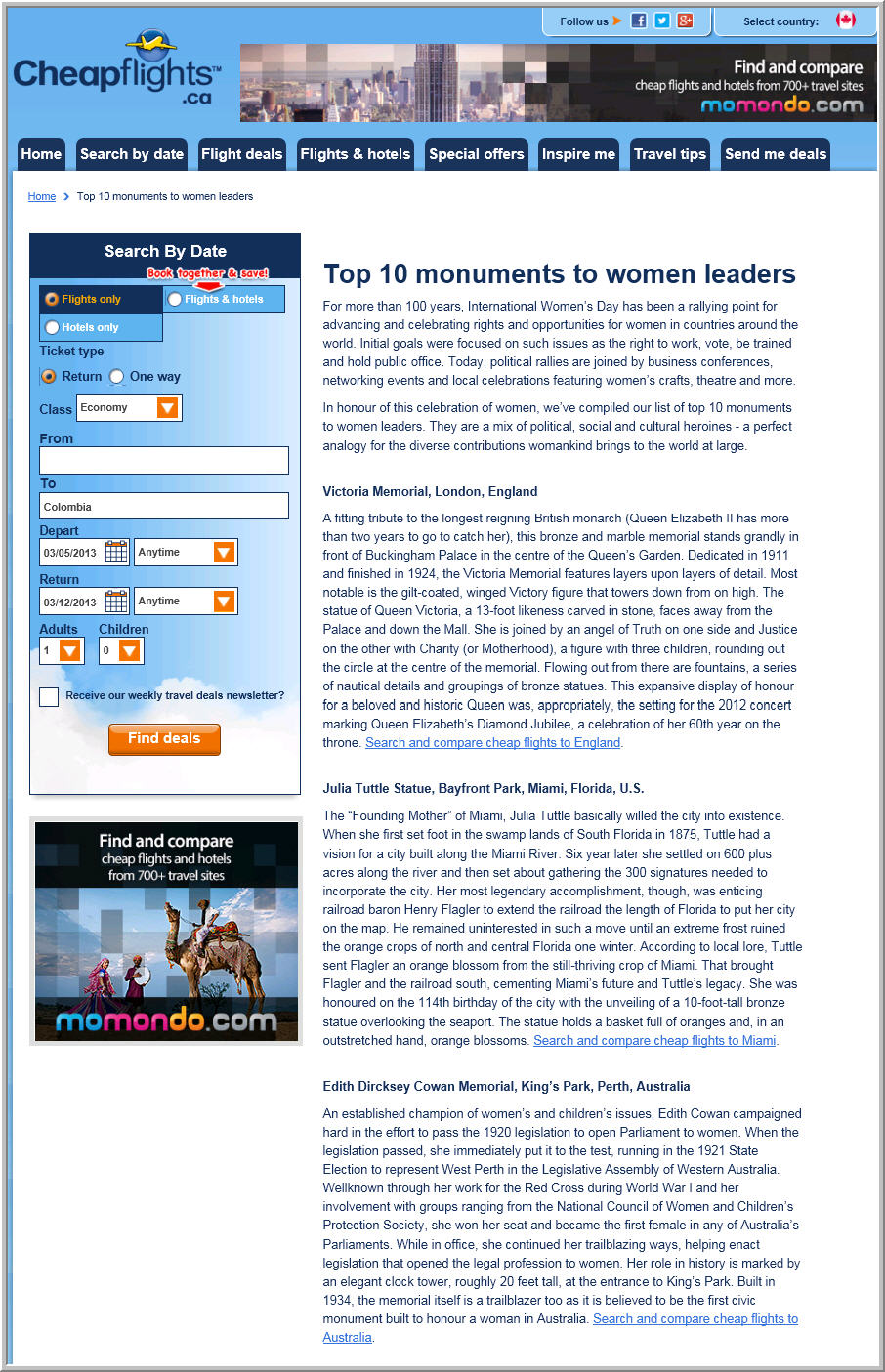 Cheapflights.ca Top 10 Monuments to Women Leaders in honour of International Women's Day