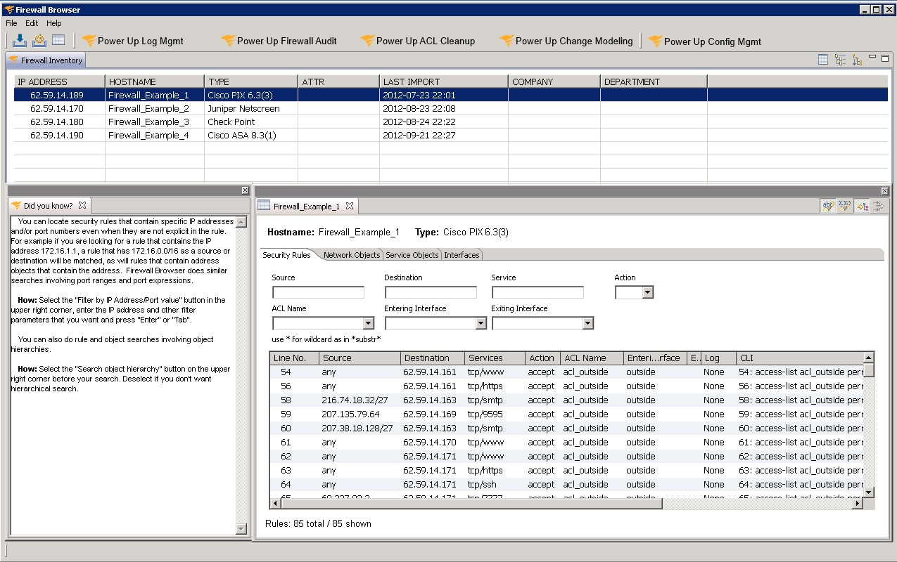 image of SolarWinds Firewall Broswer free tool