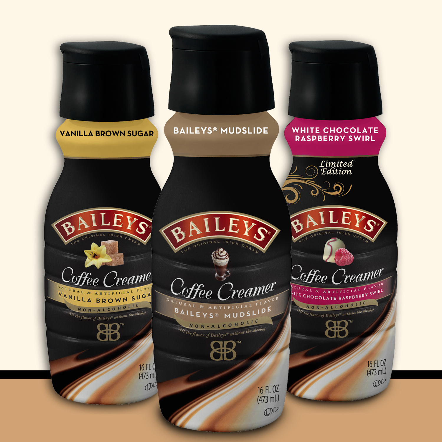 BAILEYS(R) Mudslide, Vanilla Brown Sugar, and Limited Edition White Chocolate Raspberry Swirl