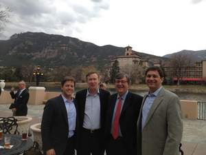 From left:  Craig McKesson-T5 Data Centers, Colorado Governor John Hickenlooper, Robert Branson-Iron Point Partners and Vince Colarelli-T5 Data Centers discuss the new T5 Data Centers project in Colorado Springs.