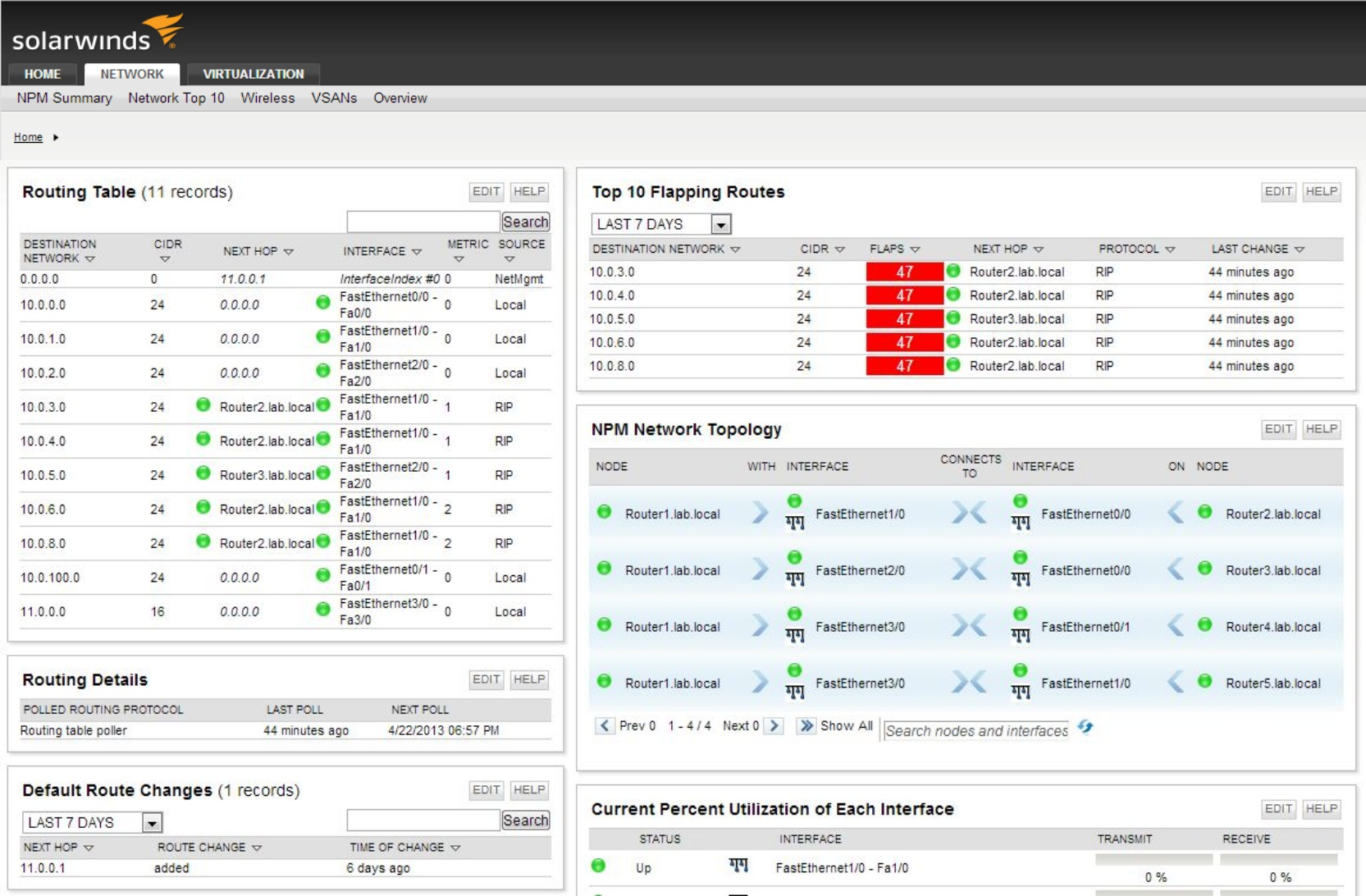 image of SolarWinds Network Performance Monitor network route monitoring