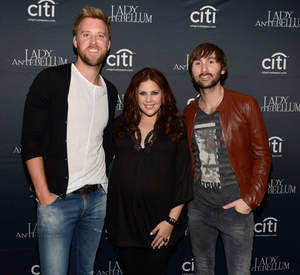 Charles Kelley, Hillary Scott and Dave Haywood backstage during Lady Antebellum's ''Golden'' Release Show Presented By Citi At The McKittrick Hotel, Home of Sleep No More on May 7, 2013 in New York City. (Photo by Kevin Mazur/WireImage)