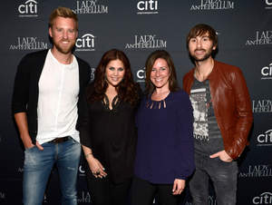 Charles Kelley, Hillary Scott, SVP Entertainment Marketing CITI,  Jennifer Breithaupt and Dave Haywood backstage during Lady Antebellum's ''Golden'' Release Show Presented By Citi At The McKittrick Hotel, Home of Sleep No More on May 7, 2013 in New York City.  (Photo by Kevin Mazur/WireImage)