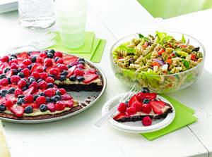 Brownie 'n Berries Dessert Pizza and Greek Tossed Pasta Salad