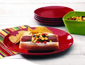 Cheddar Wurst with Corn Black Bean Salsa