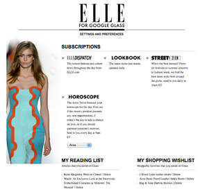 The Settings and Preferences page of ELLE Glassware allows users to manage their subscriptions.