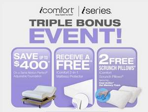 Save up to $400 plus get 2 free extras with Serta's Triple Bonus Event.
