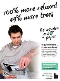 "One of the Two Sides ""No Wonder You Love Paper"" ads appearing in magazines"