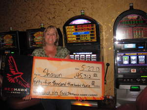 Shawn, from Stockton, Calif., celebrates her $45,312 jackpot win at Red Hawk Casino.
