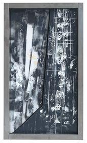 """Emilio Vedova, Senza titolo (Plurimi/Binari """"77/78). 1977/78, Oggetto. Mobile in lamiera, fildiferro e chiodi su base metallica. Circa 24,6 x 39 x 14 cm (c.9.6 x 15.3 x 5.5 in), Stima: EUR 150.000-250.000"""