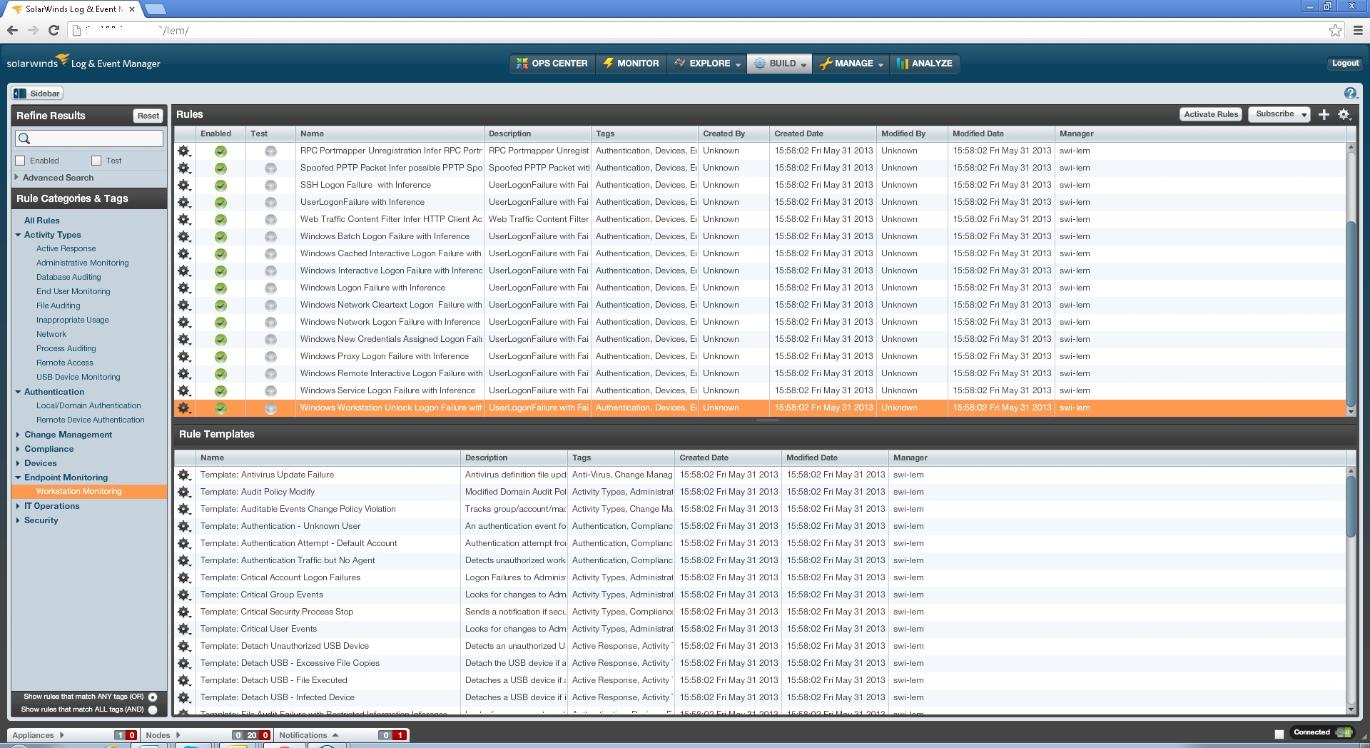 image of SolarWinds Log & Event Manager